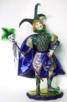 Cloth Doll Mardi Gras Jester