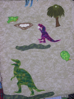 compsagnathus eating eggs and T-rex fighting stegosaurus