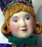 Close up of cloth covered doll face