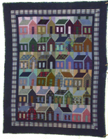 plaid houses twin bed quilts
