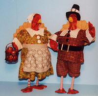 Cloth and wooden turkeys